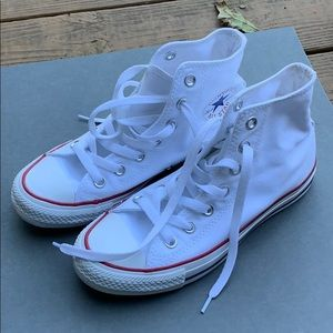 Worn once white high top converse